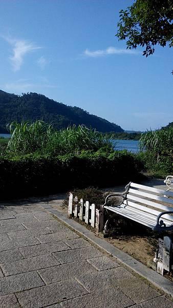 山水樹椅和陽光都是河濱公園的資產