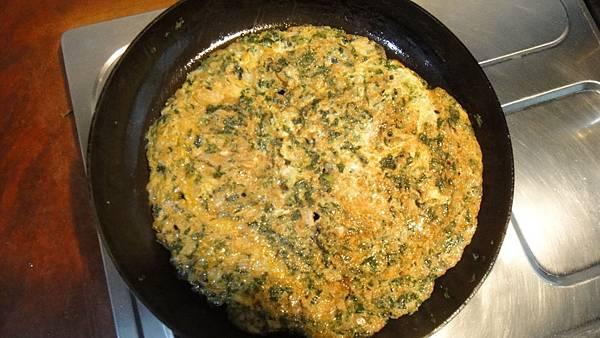 干貝香菇炒野萵苣煎蛋