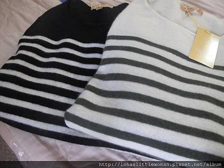 Kiel + J黑白色條紋的cashmere毛衣