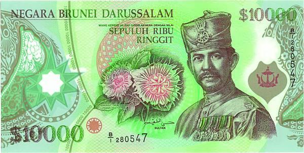 汶萊10,000元塑膠鈔正