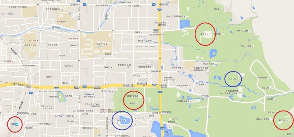 奈良景點相對位置圖