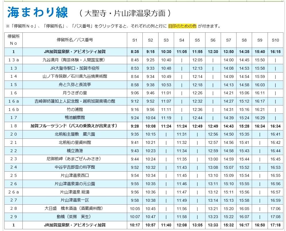 51加賀溫泉CAN BUS 時刻表(海線)