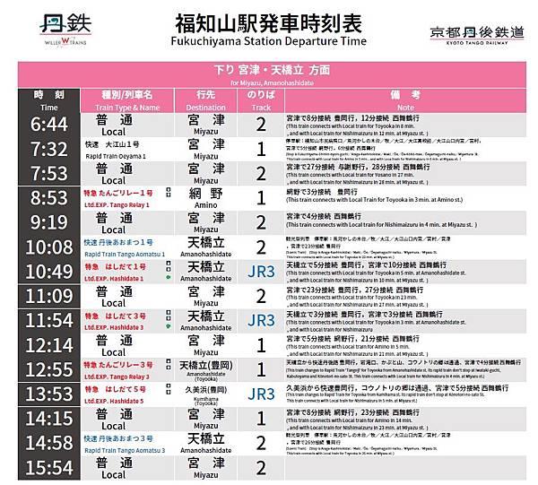 福知山-天橋立時刻表-1