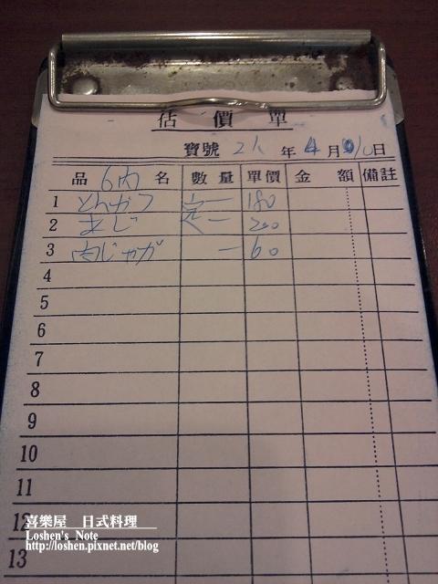 喜樂屋-手寫日文點菜單XD