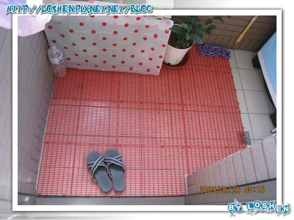 綠意盎然小陽台-買架子之前先買了塑膠排水地墊