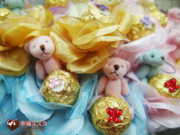 [幸福久久久]豪華玫瑰四色熊金莎巧克力花棒