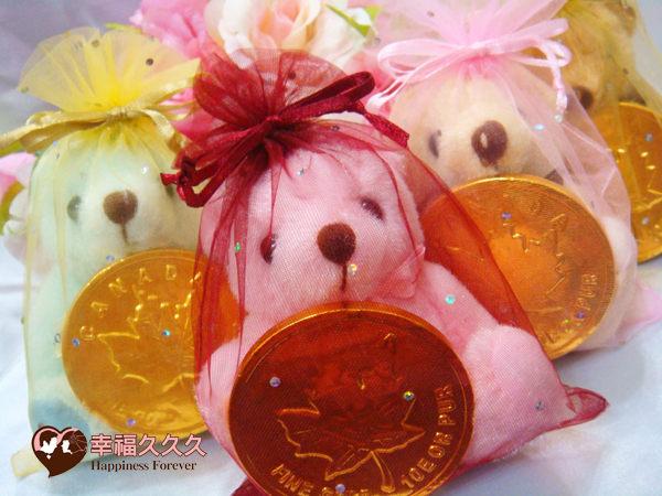 [幸福久久久]泰迪熊超大金幣巧克力喜糖組