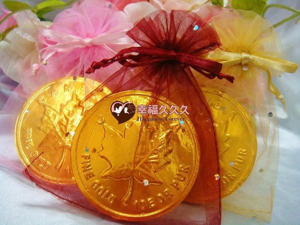[幸福久久久]超大金幣巧克力紗袋組(100份特價1099元免運費)