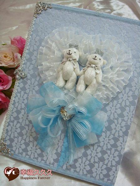 [幸福久久久]幸福皇冠熊結婚證書夾結婚證書(粉藍)(含收藏袋一個)