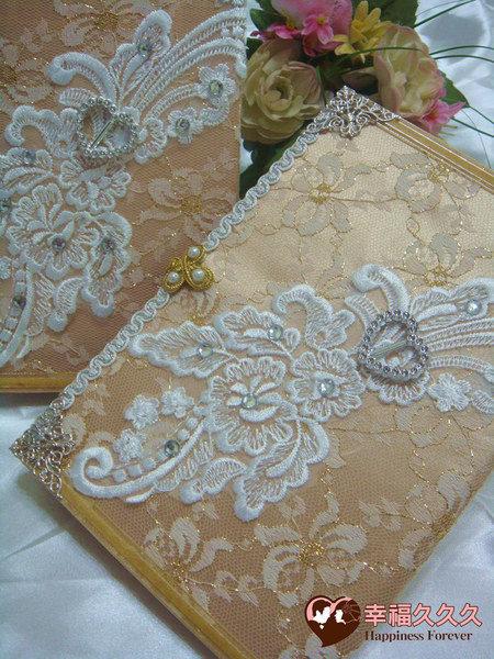 [幸福久久久]皇室宮廷手作結婚證書(2本含收藏袋手工相片框)