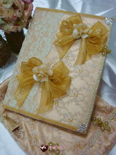 [幸福久久久]圓滿蕾絲手作結婚證書夾結婚證書(含印章套優惠免運費)