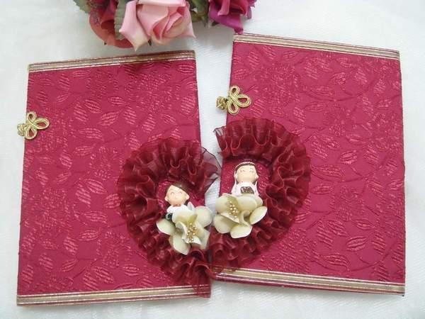 [幸福久久久]經典紅-手作結婚證書(證書2本含收藏袋一個)