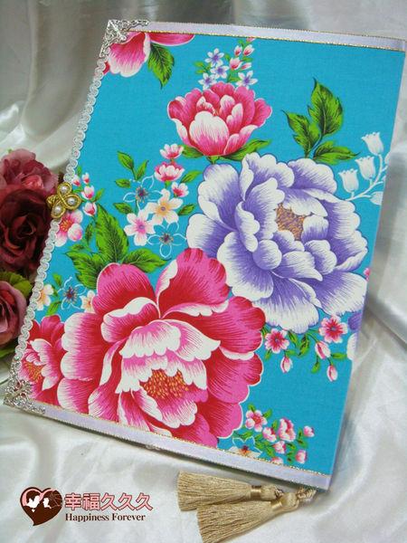 [幸福久久久]蔚藍牡丹風手作結婚證書夾結婚證書(免運費加送收藏袋)
