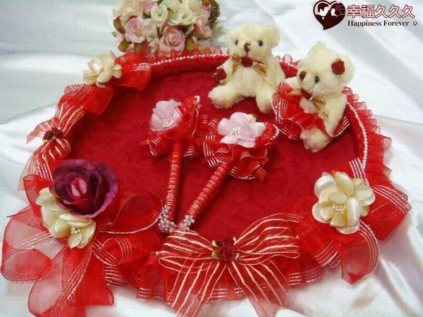 [幸福久久久]奢華紅喜糖盤組