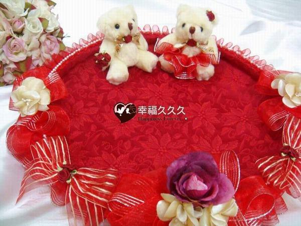 [幸福久久久]奢華紅喜糖盤組2
