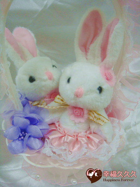 [幸福久久久]婚禮兔花童籃(含一對新人兔)特價250元