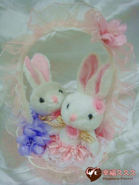 [幸福久久久]婚禮兔花童籃(含一對新人兔)特價250元2