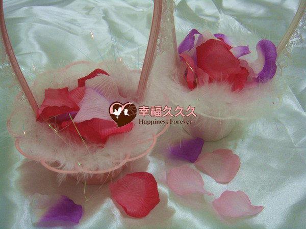 [幸福久久久]精緻花童籃(送144片人造花瓣)特價一個100元2