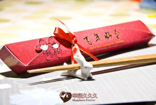 [幸福久久久]一生一世兔報喜陶瓷筷架+囍字手工皂組3