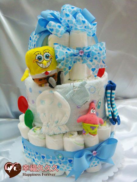 [幸福久久久]夏日沙灘(海綿寶寶)尿布蛋糕2