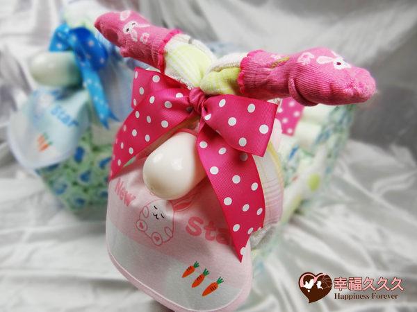 [幸福久久久]粉Q寶寶機車造型尿布蛋糕