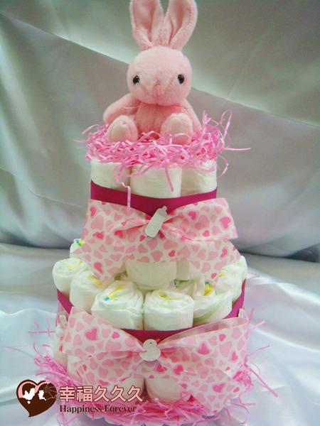 [幸福久久久]甜心兔寶寶尿布蛋糕