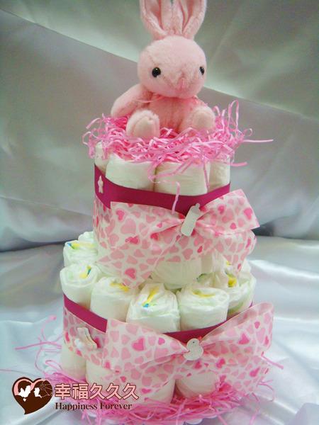 [幸福久久久]甜心兔寶寶尿布蛋糕2