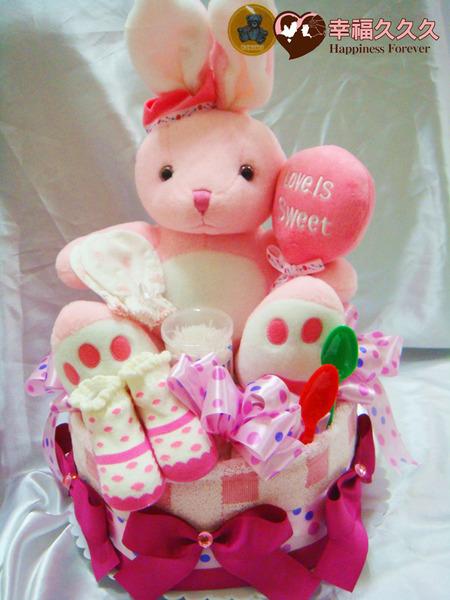 [幸福久久久]甜蜜兔寶寶尿布蛋糕