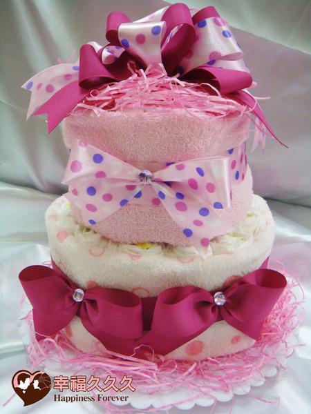 [幸福久久久]甜蜜草莓海綿尿布蛋糕2