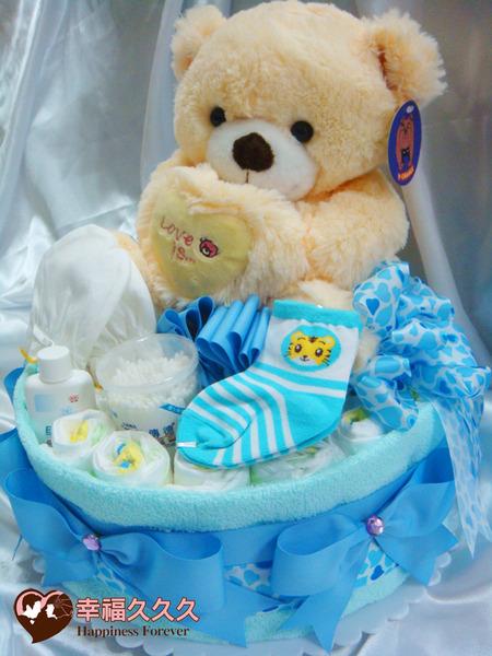 [幸福久久久]熊愛你寶寶尿布蛋糕