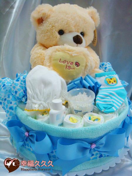 [幸福久久久]熊愛你寶寶尿布蛋糕2