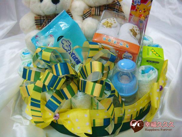 [幸福久久久]熊愛寶寶尿布蛋糕綜合組2