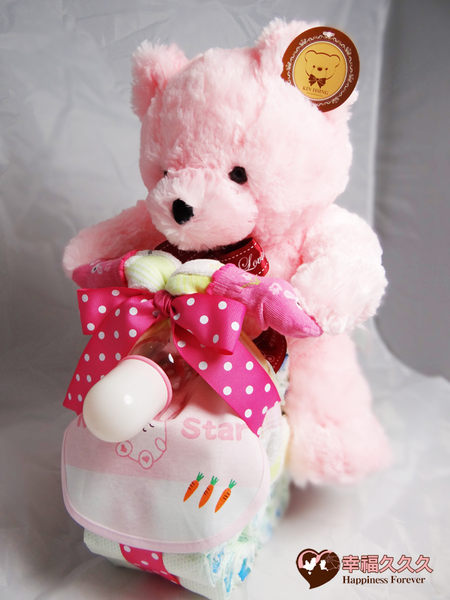 [幸福久久久]熊熊哈雷機車尿布蛋糕2
