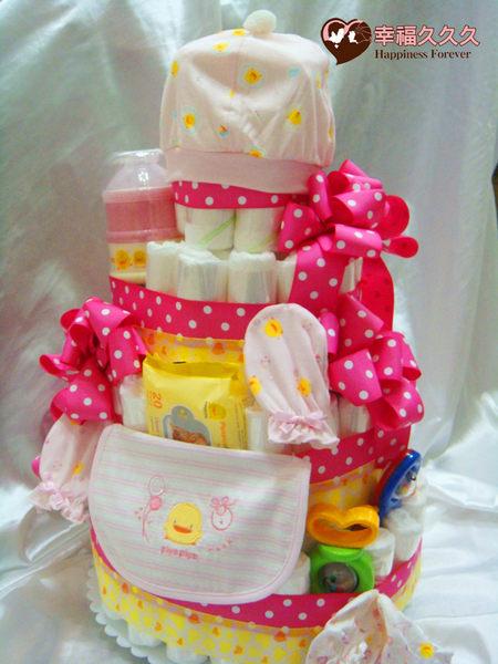 [幸福久久久]豪華4層黃色小鴨尿布蛋糕2