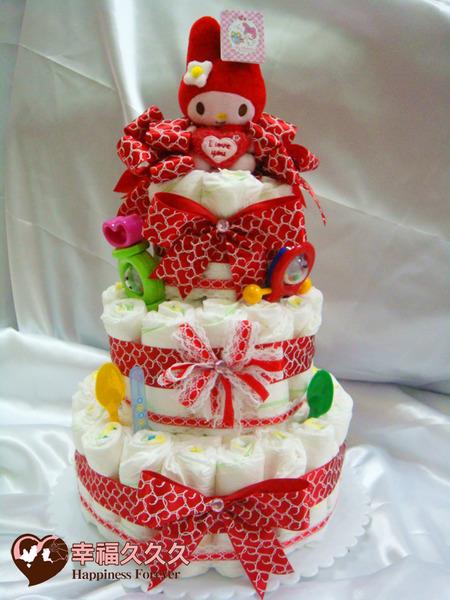 [幸福久久久]豪華三層美樂蒂尿布蛋糕