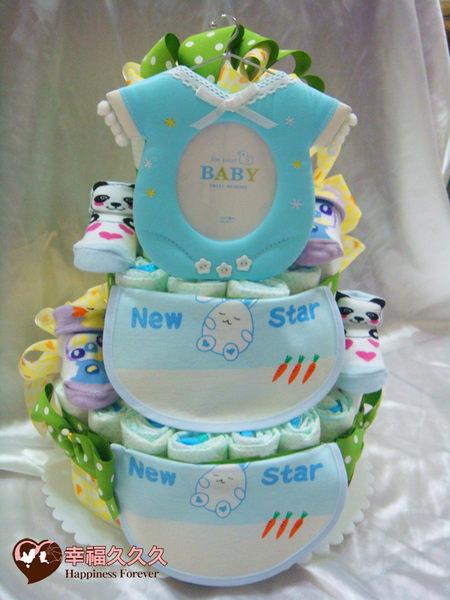 [幸福久久久]藍色天使寶寶尿布蛋糕