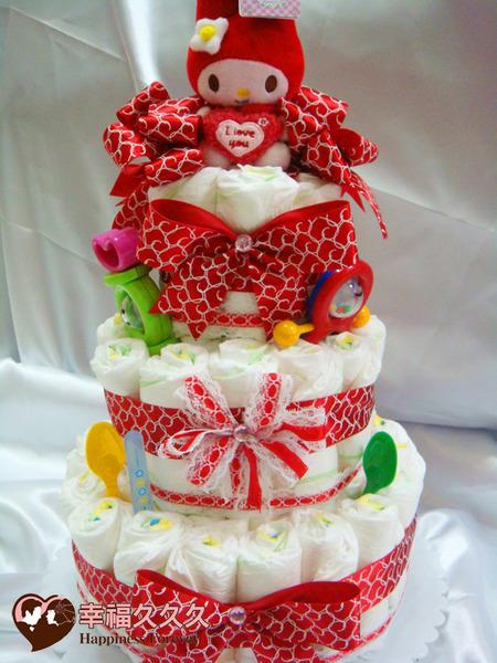 [幸福久久久]豪華三層美樂蒂尿布蛋糕2