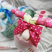 粉Q寶寶機車造型尿布蛋糕