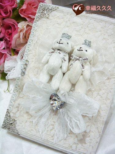 幸福久久久婚禮小物--婚禮小物之晶鑽皇冠熊結婚證書01