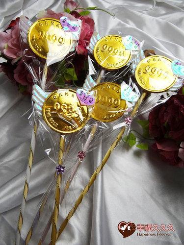 幸福久久久婚禮小物--婚禮小物之超大金幣巧克力花棒03