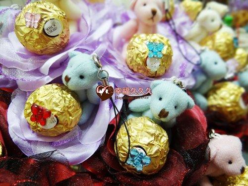 幸福久久久婚禮小物--婚禮小物之四色熊金莎巧克力花棒04
