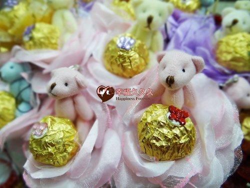 幸福久久久婚禮小物--婚禮小物之四色熊金莎巧克力花棒02