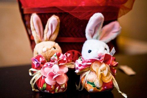 幸福久久久婚禮小物--婚禮小物之牡丹花手工福袋兔01