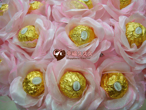 幸福久久久婚禮小物--婚禮小物之豪華玫瑰金莎巧克力花棒01