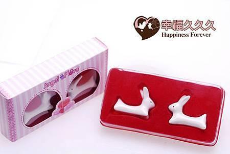 情人兔陶瓷筷架組