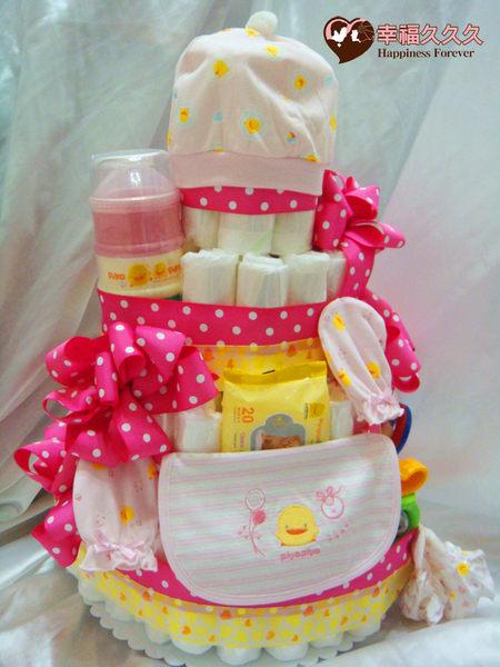 豪華4層黃色小鴨尿布蛋糕