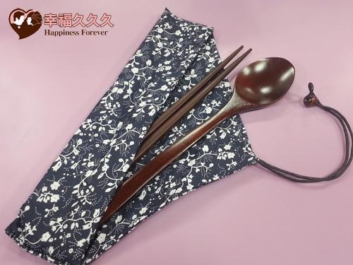 日式藍布花紋木筷湯勺組-1