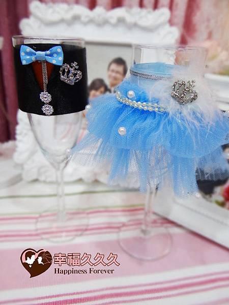 湛藍婚禮新人高腳對杯組-2