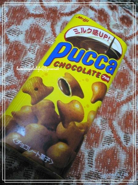 090613明治PUCCA巧克力夾心餅(正).jpg