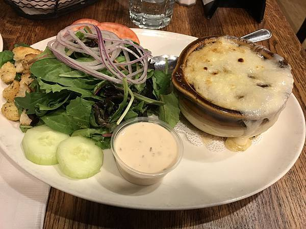 Onion Soup and Salad